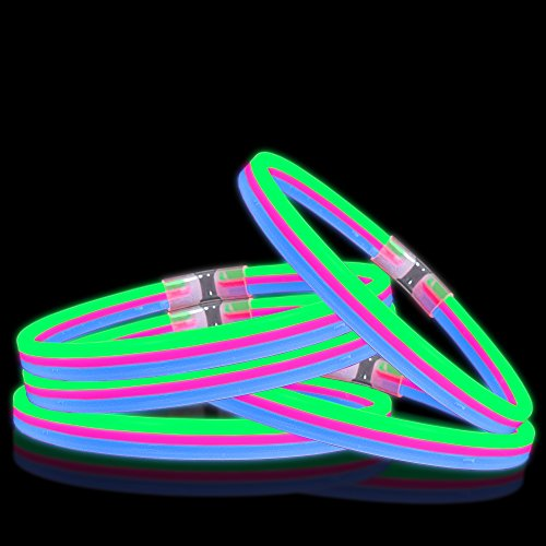 Lumistick Triple Bright Glow Stick Party Necklaces - Green, Pink and Blue (25 neclaces) by Lumistick