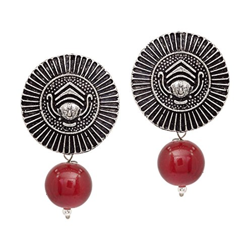 d5ee5339de V L IMPEX Handmade Designer Traditional Oxidised silver Plated Durga  Jewellery Stud Drop Earring With Maroom Beads For Womens & Girls