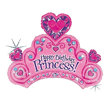 """Betallatex 85589 Happy Birthday Tiara Foil Mylar Party Balloon, 34"""", Multicolor, Pack of 1: Kitchen & Dining"""