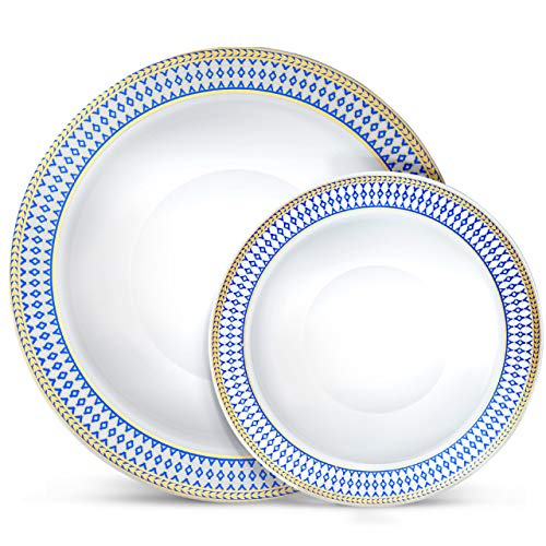 Laura Stein Designer Dinnerware Set   64 Disposable Plastic Party Bowls   White Wedding Bowl with Blue Rim & Gold Accents   Set Includes 32 x 12 oz Soup Bowls + 32 x 5 oz Dessert Bowls   Midnight Blue