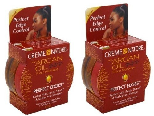 Control Creme - Creme of Nature Argan Oil Perfect Edges Control Hair Gel-2.25 oz (Pack of 2)
