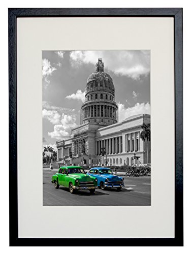 BD ART 29.7x42 cm (A3) Black Picture Frame with Mat for Photo 21x30 cm (A4) (Glass European Mount)