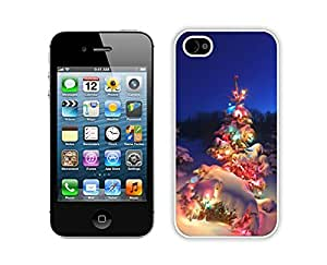 Iphone 4S Case,Christmas Tree With Colorful Light Durability Apple Iphone 4 4s Silicone White Case
