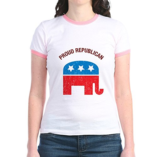 Republican Ringer T-shirt - CafePress - Proud Republican - Jr. Ringer T-Shirt, Slim Fit 100% Cotton Ringed Shirt Pink/Salmon