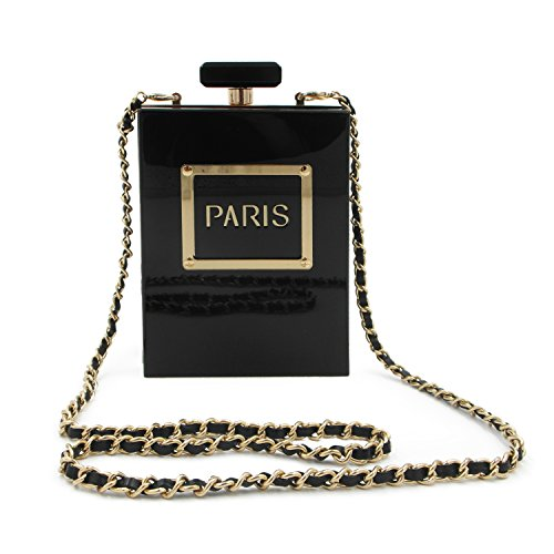 - LUI SUI Women Acrylic Black Paris Perfume Design Evening Bags Banquet Chain Shoulder bag