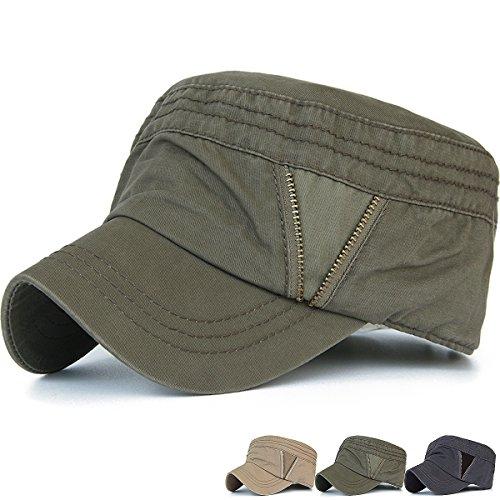 REDSHARKS Cadet Cap Military Army Flat Top Hat Adjustable Zipper Grommets Olive