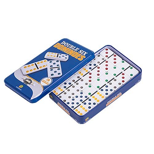 YH Poker Double 6 Color Dot Dominoes with tin Box Double Six Dominoes Tin