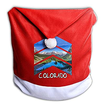 Rocky Mountains Colorado Triangle Santa Clause Red Hat Chair Back Covers For Christmas Dinner Decor Slipcovers Decoration
