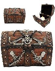 "Ebros Gift Caribbean Kraken Octopus Pirate Haunted Chained Skull Decorative Treasure Chest Box Jewelry Box Figurine 5"" Long Nautical Coastal Ocean Decor"