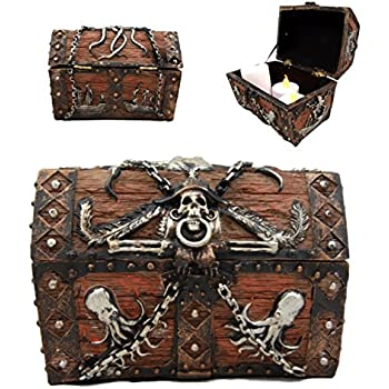 "Atlantic Collectibles Caribbean Kraken Octopus Pirate Haunted Chained Skull Treasure Chest Box Jewelry Box Figurine 5""L"