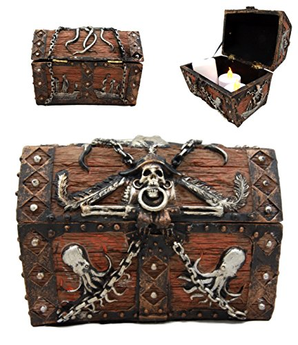 Adult Treasure Chest Pirate - Atlantic Collectibles Caribbean Kraken Octopus Pirate Haunted Chained Skull Treasure Chest Box Jewelry Box Figurine 5