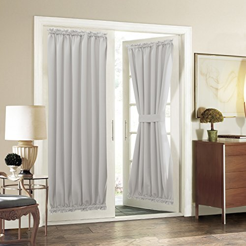 (Aquazolax Patio Door Curtain Panel Room Darkening Blackout Curtain Drapes 54 x 72 Inch with Rod Pocket for French Door - Single Panel, Greyish White)