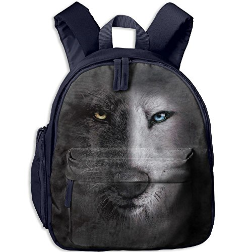 Mini School Backpack Custom Made With Black Wolf For Kindergarten Boy Girl - Oxford Loop Street