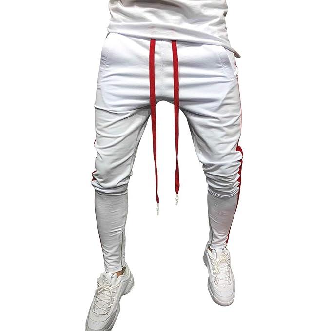 YanHoo Pantalones de chándal para Hombre Pantalones Deportivos elásticos  Ocasionales con Rayas a Rayas en los Bolsillos Casuales de Hombre Hip Hop  Fitness ... 44789ce4014