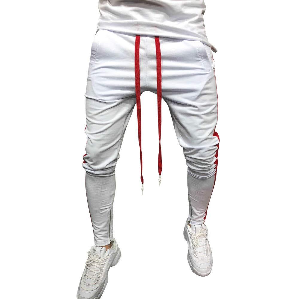 PASATO Clearace Sale! Men Sweatpants Casual Elastic Joggings Sport Striped Baggy Trousers WH/L(White, L)