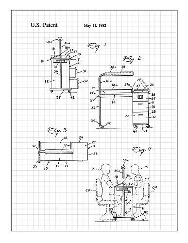 Manicure Table Patent Print Art Poster Black Grid  M13677