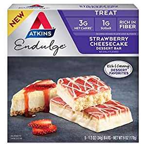 Well-Being-Matters 51uxk98AvEL._SS300_ Atkins Endulge Treat Strawberry Cheesecake Dessert Bar, 6 Ounce (5 Bars)