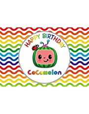 Cartoon Cocomelon Backdrop Lovely Watermelon Colorful Background Theme Happy Birthday Party Banner Decorations Supplies Backdrop Newborn (7x5ft)