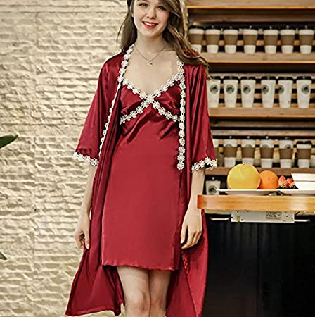 cca3dd76edf1 TX NEIYI Spring And Summer Thin Models Silk Pajamas Ladies Sling Sleeves  Two-Piece Suits Home Service Sexy Pajamas Hollow Lace Temptation Female
