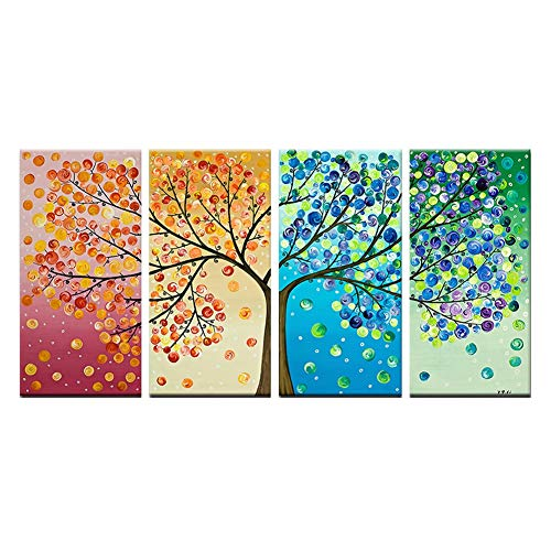 HLL Imprima Obras de Arte de 4 Colores Life Tree-4 Panels Wall Art Decor Poster Obras de Arte para el hogar Impresiones en...