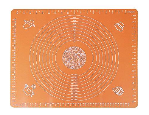 Anokay Rutschfeste Teigmatte / Hitzbeständige Backmatte / Ausrollmatte aus Silikon mit Maßeinheiten 50 x 40 CM (Orange)