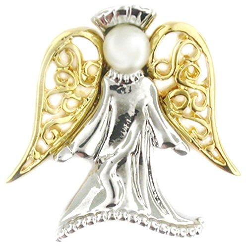 PinMart's Angel with Pearl Religious Spiritual Jewelry Brooch Style Lapel Pin 1'' by PinMart