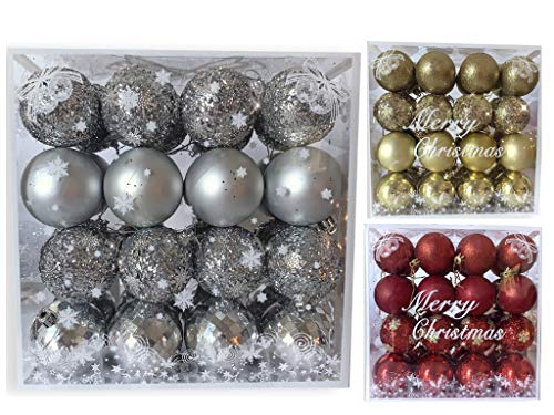BANBERRY DESIGNS Silver Christmas Bulbs - Set of 32 Assorted Glittered Xmas Ball Ornaments - Shatterproof Holiday Ornament Pack - 2.36