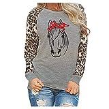 KANGMOON Womens Solid Leopard Print Blouse Long Sleeve Patchwork Sweatshirt Fashion Ladies T-Shirt Oversize Tops Tunics Gray