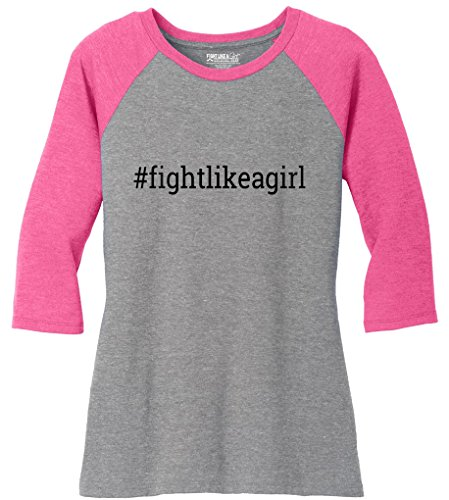 Fight Like a Girl Hashtag Ladies' Tri-Blend Baseball-Style Raglan T-Shirt Grey w/Bubblegum Pink [XL] (Fight Like A Girl T-shirt)