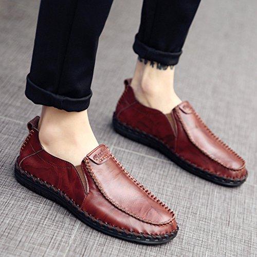 Sanyes Heren Schoenen Lederen Schoenen Heren Slip Loafers Heren Casual Schoenen Rood