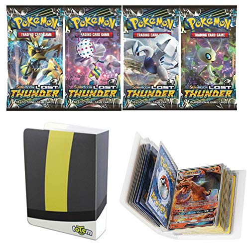 Totem World 1 Sun and Moon Lost Thunder Booster Pack with a Ultra Ball Mini Binder Collectors Album for Pokemon Cards (Best Ball To Catch Lugia)