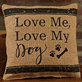 The Country House Collection Small Burlap Pillow (8'' x 8'') (Love/Dog)