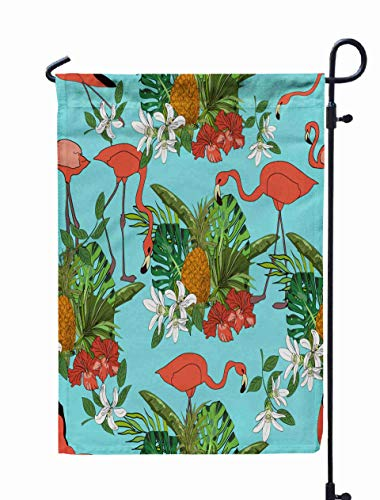 Shorping Welcome Garden Flag, 12x18Inch Tropical Exotic Collection Pattern Leaves Flowers Pineapples Flamingos Textile Wallpaper for Holiday and Seasonal Double-Sided Printing Yards Flags