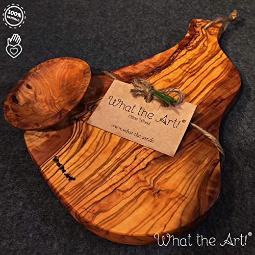 What the Art!® Olive Wood «Serrano» Gr. M | Olivenholz Schneidebrett inkl. Dip-Schälchen + Geschenk | ca. 30 x 13 x 2 cm | Käsebrett – Servierbrett – Brotzeitbrett – Vesperbrett
