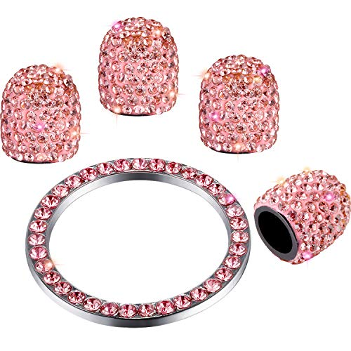 Valve Stem Caps 4 Pack Handmade Crystal Rhinestone Universal Tire Valve Dust Caps Bling Car Accessories with 1 Piece Ring Emblem Sticker for Auto Start Engine Ignition Button Key and Knobs (Pink) (Caps Valve Stem Pink)