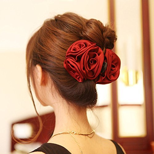Korean Beauty Ribbon Rose Flower Bow Jaw Clip Barrette Hair Claws Headwear Hair Jewelry for Women Accessories