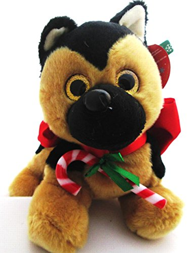 Christmas Stuffed Plush Puppy with Candy Cane 3 Piece Gift Set Dog Sticker Book Carrying Case (German Shepherd)