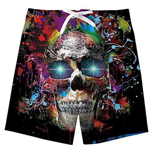 (Idgreatim Boys Summer Beach Shorts Bone Skull Graphic Sports Running Swimming Trunks Drawstring Quick Dry Bathingsuit Swimwear for Hawaiian Vacation 10-12 Years)