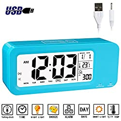 Alarm Clock for Kids, Aitey Talking Digital Clock with Built-in Rechargeble Battery, 3 Alarms, Low Light Sensor Technology for Girls and Boys (Blue)
