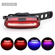 GreenClick COB, Chip On Board, Rechargeable USB LED Bike Rear Light Red and Blue Bicycle Tail Light Waterproof Bike Taillights Fits on any Bicycles Helmets or Backpacks Safety and Warning