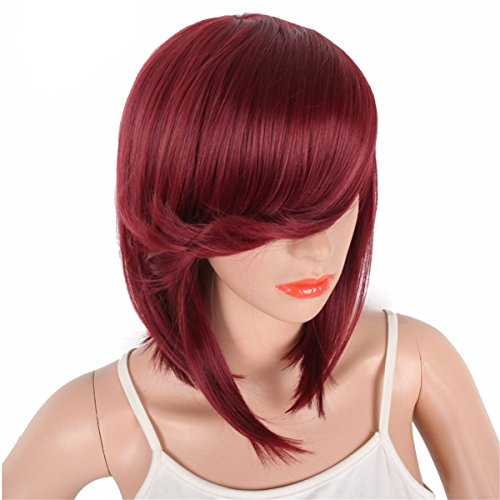 DEYSSNE Short Wine Red Straight Side Parting Bob Synthetic Wigs With Bangs For Black Women Brazilian Hairstyle Natural Heat Resistant Hair   (Natural Wig Bob Style)