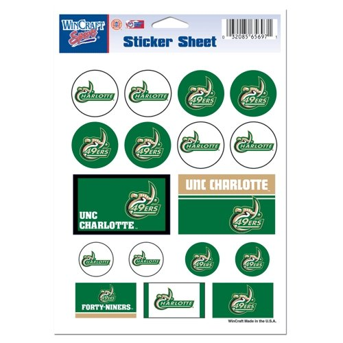 Wincraft NCAA North Carolina - Charlotte Vinyl Sticker Sheet, 5'' x 7''