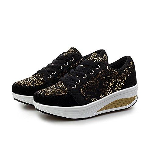 Cunei Donne Passeggio Sneaker Scarpe Piattaforma Scarpe Dimagrante amp; Scarpe 2 nero Ginnastica QZBAOSHU Fitness SxATqz66wa