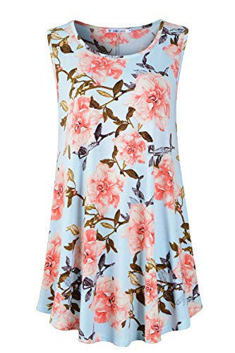 JollieLovin Womens Sleeveless Comfy Plus Size Tunic Tank Top with Flare Hem (Medium (US 10-12), 8-Sky Blue) ()