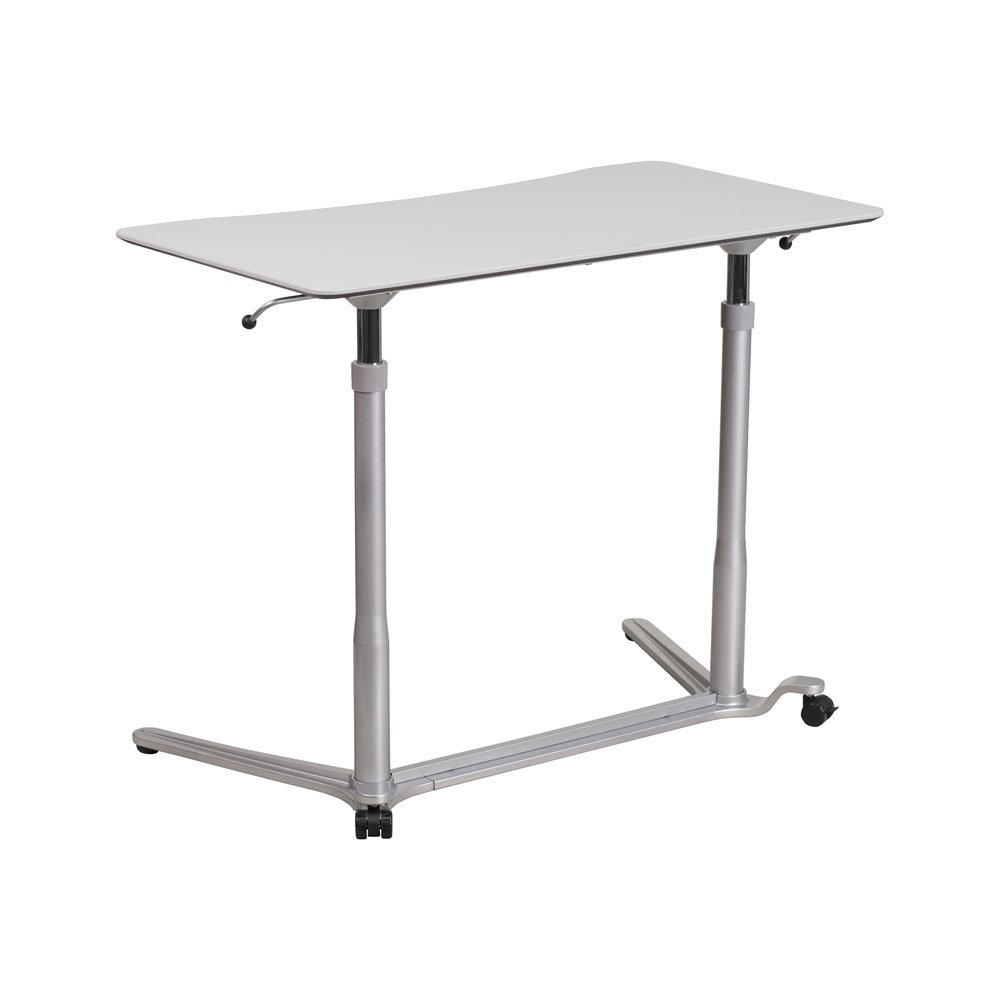 Offex Contemporary Sit-Down/Stand-Up Computer Desk with Pneumatic Height Adjustable Frame - Light Gray