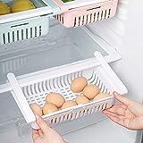 STARSLIFE Retractable Drawer Type Refrigerator Storage Box Food Fresh-keeping Classified Organizer Container Basket Fridge Shelf Holder Plastic Storage Bins, Fit for Fridge Shelf Under 0.5' - White