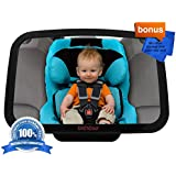 DaffaDoot Baby Car Mirror, Best Back Seat Mirror for Keeping an Eye on Rear Facing Babies, Super-Sized for the Tiniest Tots and the Tallest Toddlers, Superior Clarity, Shatterproof, CRASH-TESTED, Gorgeous Gift Box, Two FREE GIFTS Cleaning Cloth & Newborn Fun Facts eBook, 100% Satisfaction Guaranteed