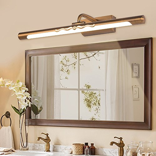 Hines American Simple Led Chip Bathroom Toilet Mirror Front Light High Brightness Energy Saving Make-Up Lamps Wall Light Adjustable Angle 240 ° Copper Waterproof Fog Cabinet Light Mirror Lamp