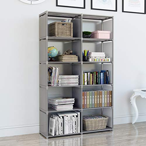 EunSung Simple Bookcase - Storage Book Media CD, DVD Folder CD 10 Lattice (Gray)