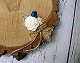 Burlap Wedding Boutonniere Navy Ivory Beige